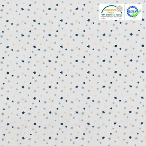 Coton blanc motif étoile bleue et dorée freez