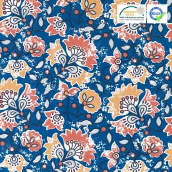 Coton bleu motif orban ocre
