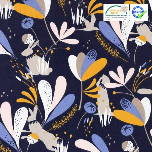 Coton bleu marine motif lorena