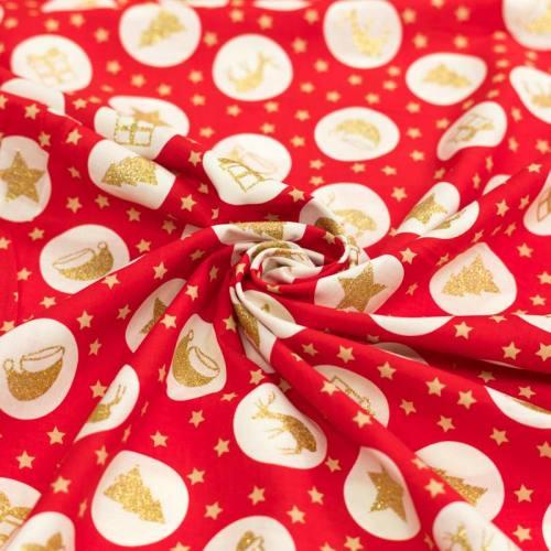 Coton de Noël rouge motif symboles de Noël ivoire et paillettes