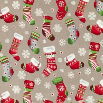 Coton de Noël gris motif chaussette de Noël rouge