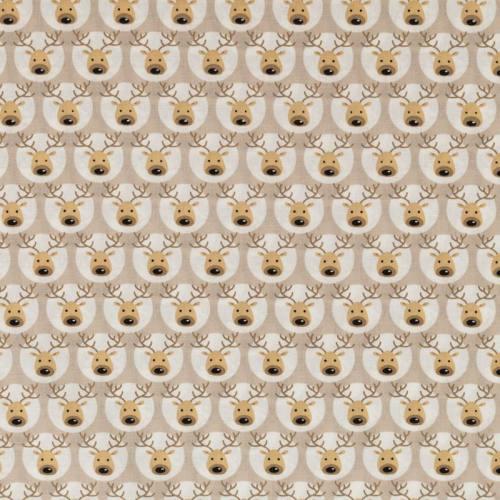 Coton de Noël beige motif renne