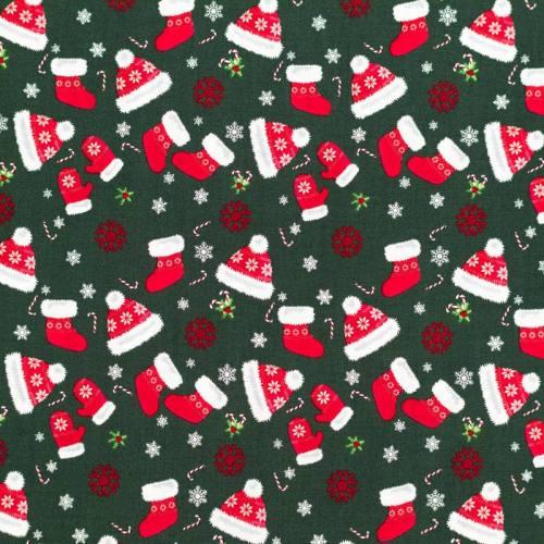 Coton de Noël vert motif bonnet et chaussette
