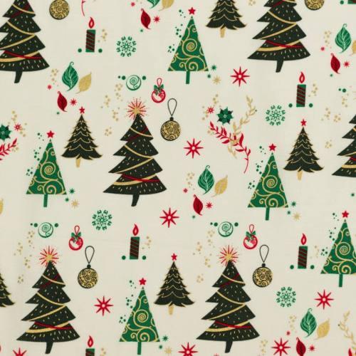 Coton de Noël ivoire motif sapin vert et doré