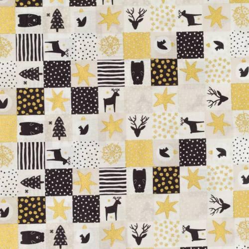 Coton de Noël beige motif patchwork Noël doré