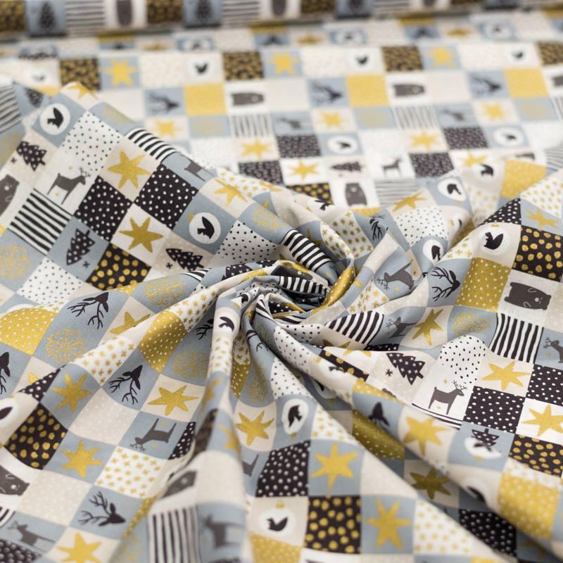Coton de Noël gris motif patchwork Noël doré