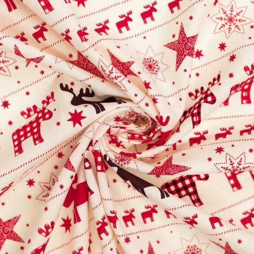 Coton de Noël ivoire motif étoile et renne vichy