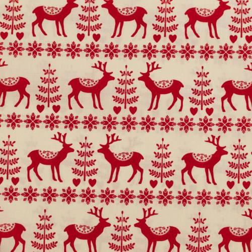 Popeline de coton de Noël crème motif renne hiver rouge