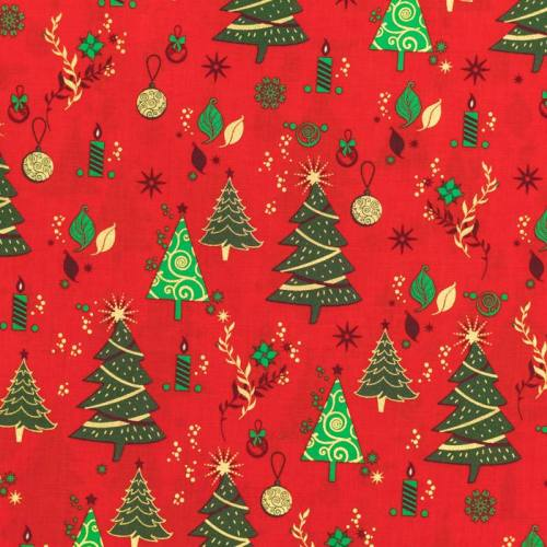 Coton de Noël rouge motif sapin vert et doré