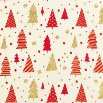 Coton de Noël ivoire sapin et pois rouge et or