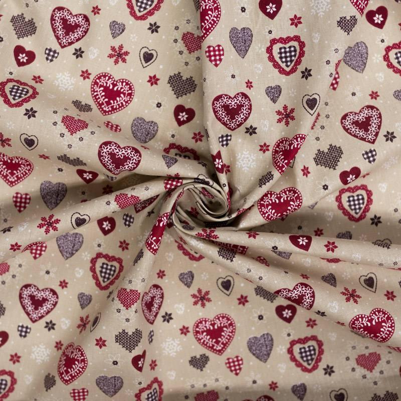 Coton cretonne beige motif coeur style chalet