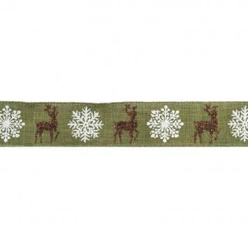Ruban laitonné Noël cerfs 38mm vert
