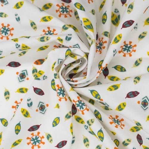 Popeline de coton blanche motif plume ocre et marron
