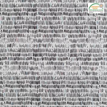 Popeline de coton blanche motif courtes rayures noires