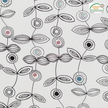 Popeline de coton blanche motif fleurs graphiques noires