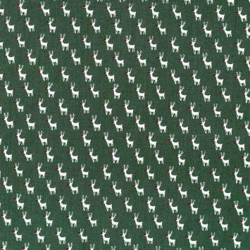 Coton de Noël vert motif renne blanc