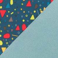 Tissu softshell bleu canard motif géométrique