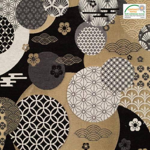 Jacquard motif Dorayaki noir et or