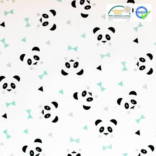 Coton blanc motif vert d'eau panda maony