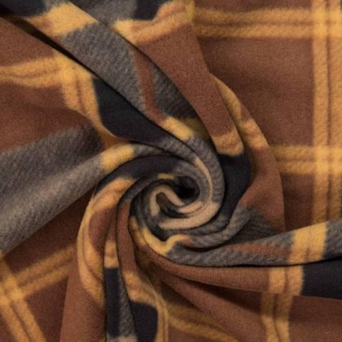 Polaire motif tartan marron et noir