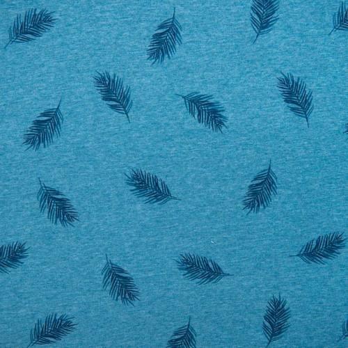 Jersey bleu canard chiné imprimé fine feuille