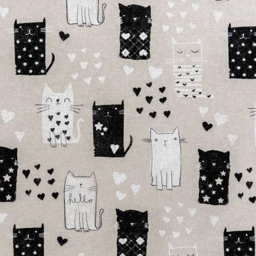 Toile aspect lin motif dessin de chat