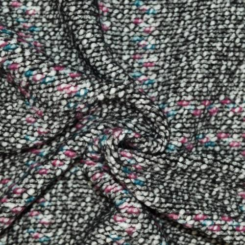 Tissu lainage petites bouclettes écru, vert, rose et noir