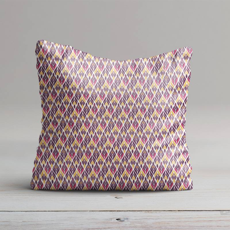 Coton blanc motif spleen violet ocre