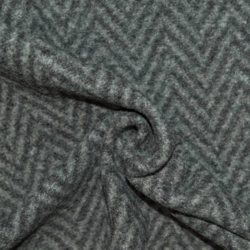 Tissu lainage gris clair et gris foncé tissage chevron
