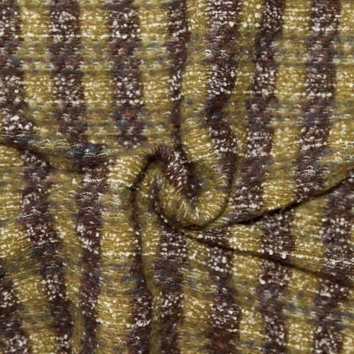 Tissu lainage rayé vert marron et blanc