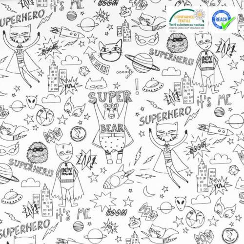 Coton à colorier motif super-héros