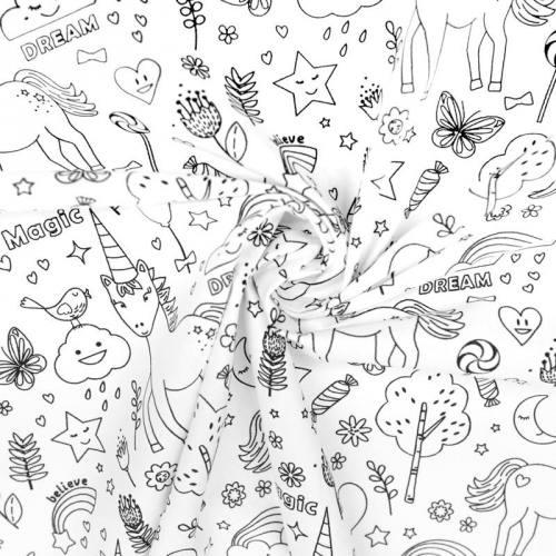 Coton à colorier motif licorne et nature