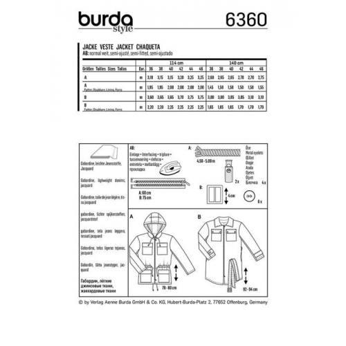 Patron Burda 6360 : Veste Taille 36-46