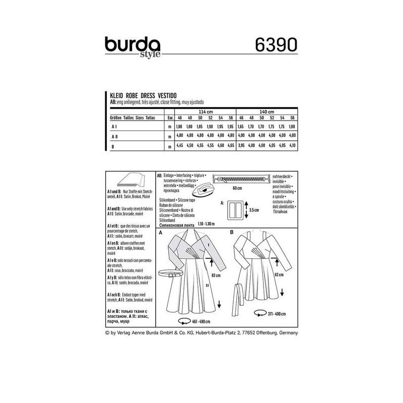 Patron Burda 6390 : Robe Taille 46-56