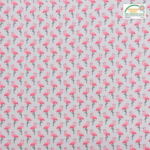 Coton gris imprimé flamant rose