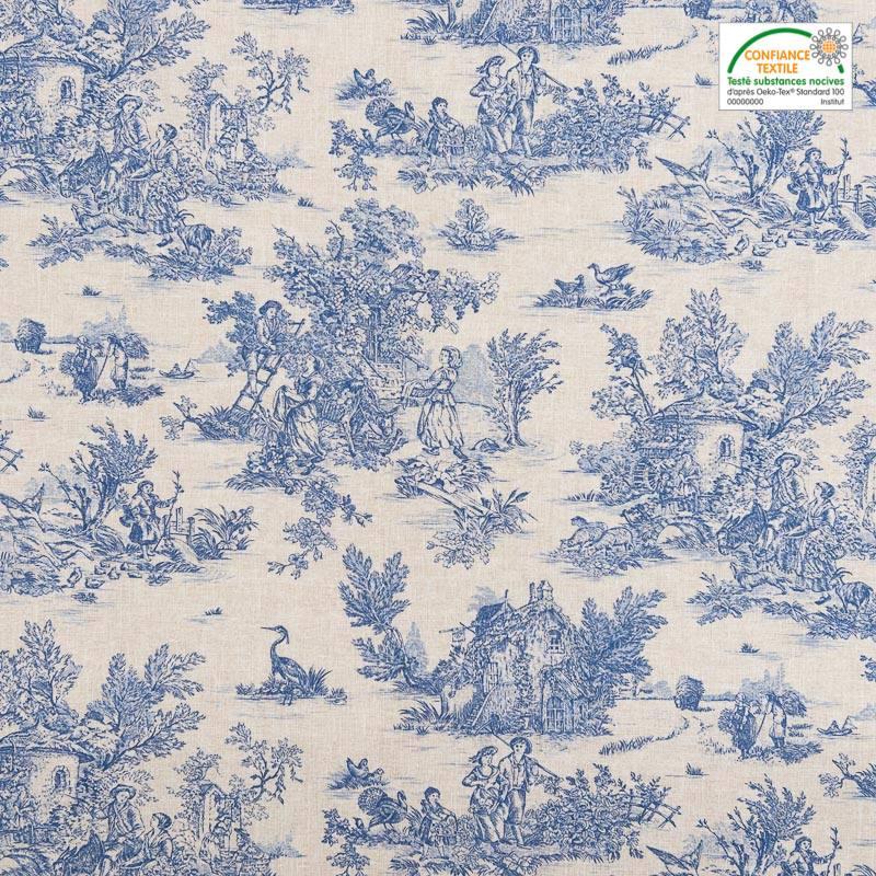 Coton cretonne grège petit motif pastoral bleu