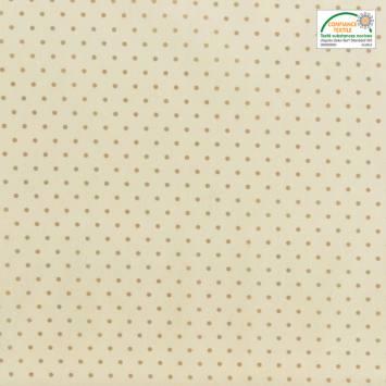 Coton cretonne ivoire foncé pois beige
