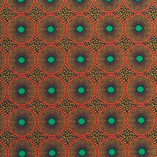 Jacquard noir motif cercles ethniques oranges et rouges