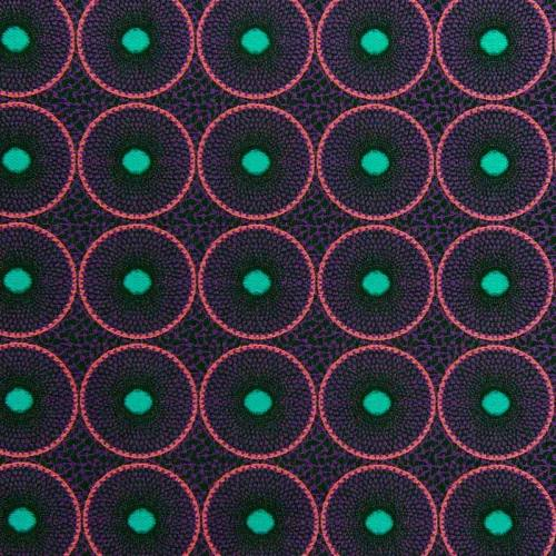Jacquard noir motif cercles ethniques violets et roses