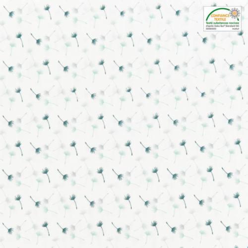 Popeline de coton blanc motif petit pissenlit vert et gris