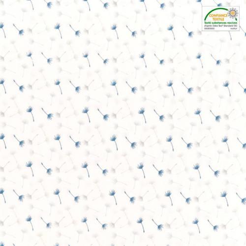 Popeline de coton blanc motif petit pissenlit bleu et gris