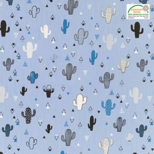 Popeline de coton bleu motif triangle et cactus
