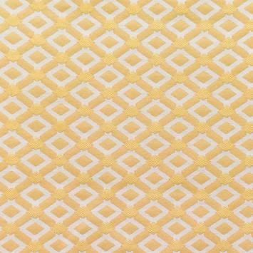 Jacquard jaune or à losanges écrus
