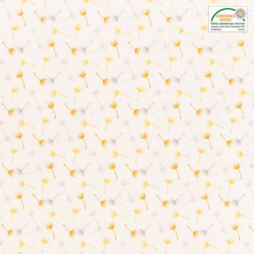 Popeline de coton blanc motif petit pissenlit jaune, ocre et gris