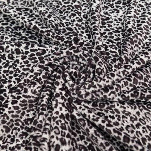 Velours ras imprimé léopard gris