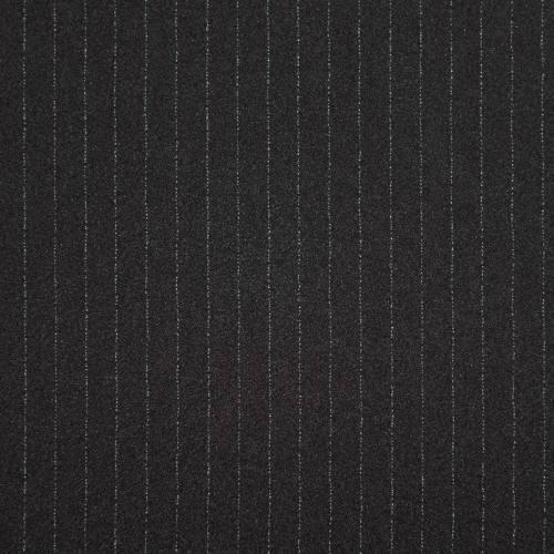 Tissu crêpe noir à très fines rayures