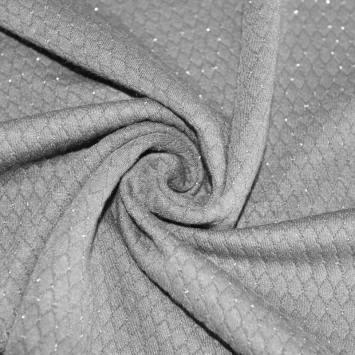 Maille gaufrée lurex grise