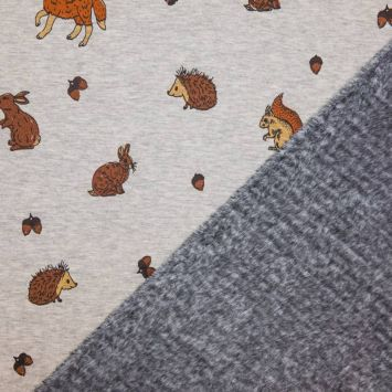 Tissu molleton gris motifs animaux de la forêt envers polaire