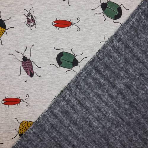 Tissu molleton gris motifs insectes envers polaire