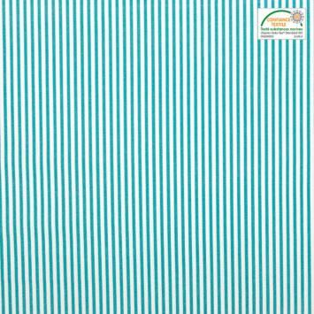 Coton écru à fines rayures vert lagon